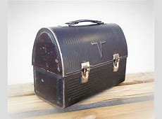 Vintage Lunch box old black metal lunch box by TheWhitePelican