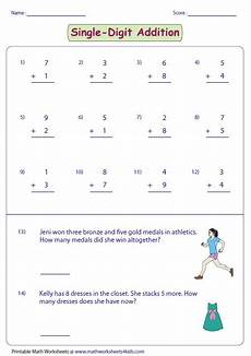 math single digit addition worksheets single digit addition worksheets