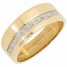 pre owned 9ct yellow gold diamond wedding band ring