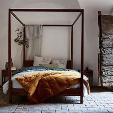 lit 2 places avec baldaquins en acacia massif 160x200 cm