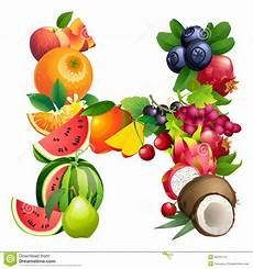 letter h composed of different fruits with leaves stock