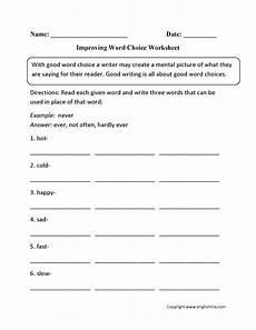 grammar usage worksheets 25008 improving word choice worksheet word usage word choice