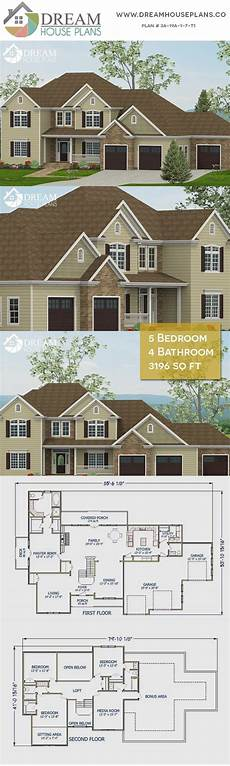 5 bedroom house plans with wrap around porch dream house plans best traditional 5 bedroom 3196 sq ft
