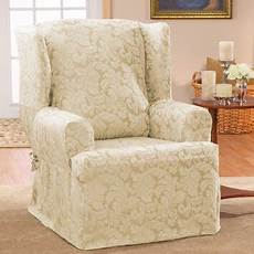 sure fit scroll classic wing chair t cushion skirted slipcover reviews wayfair