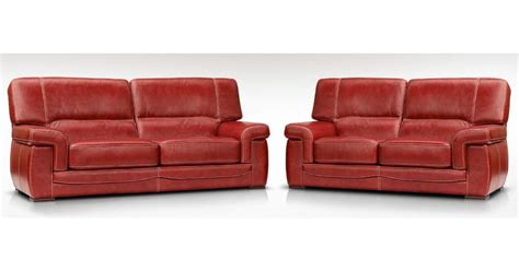 Siena 3 + 2 Italian Leather Red Settee Sofa Suite, Leather