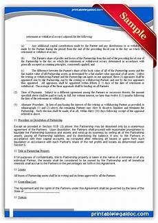 free printable partnership agreement form generic