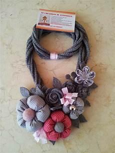 collane con fiori di stoffa le creazioni di antonella collana con fiori in stoffa e