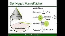 kegel volumen mantelfl 228 che oberfl 228 che