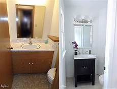 half bathroom makeover before after the chambray bunny