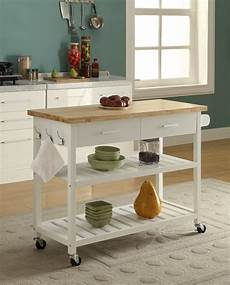 buy kitchen island trolley 2 drawers 2 tier white and natural 117x89cm beyond bright