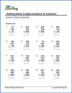 grade 4 addition worksheets free printable k5 learning