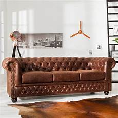 Salon Canap 233 Chesterfield Vintage 3 Places En Simili