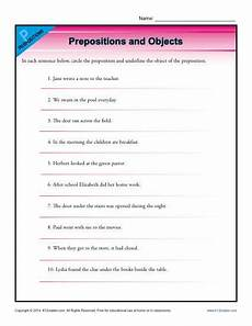 prepositions and objects preposition worksheets