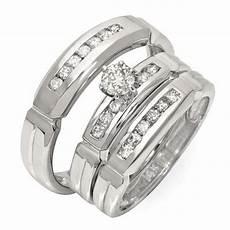luxurious trio marriage rings half carat cut diamond gold jeenjewels