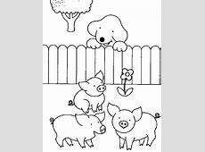Dribbel kinder kleurplaten: varkentjes