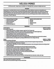 nanny resume sle nanny resume exles are made for