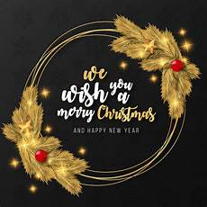merry christmas realistic golden frame template vector free download
