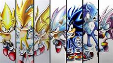 all sonic forms drawing sonic s super forms and transformations compilation youtube
