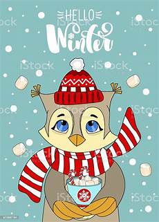 greeting card with a christmas owl merry christmas drawn lettering stock illustration