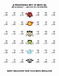 two digit addition and subtraction with monsters a halloween math worksheet