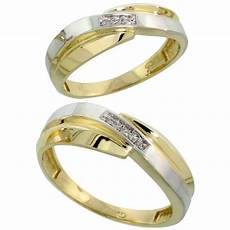 10k yellow gold diamond wedding rings for him 7 mm and