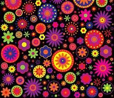 Hippie Rainbow Flower Pattern Fabric Hippygiftshop