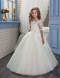 short sleeve white flower girl dresses for wedding gown tulle mother daughter gowns ball gown