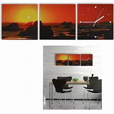 3 teilige bilder 3 teilige leinwandbilder mit wanduhr aufh 228 nge fertig