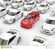 Red Car Stands Out Among Many White Cars Stock