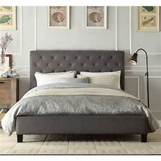 size buttoned fabric bed frame grey buy