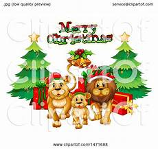 clipart of a merry christmas greeting over lions royalty free vector illustration by graphics