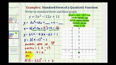 ex2 write a quadratic function in standard form to graph