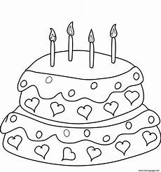 Malvorlagen Cake Birthday Cake With Four Candles Coloring Pages Printable
