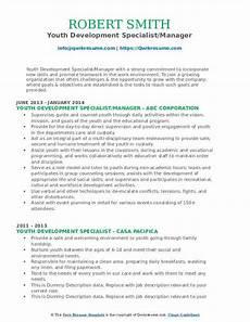 youth development specialist resume sles qwikresume