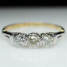 3 stone diamondengagement ring anniversary wedding band 14k yellow gold ebay