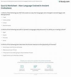 civilization worksheets 19308 quiz worksheet how language evolved in ancient civilizations study