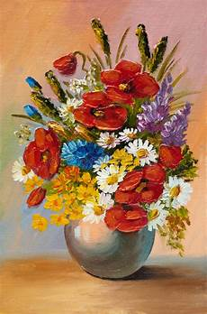 painting of flowers in a vase on canvas