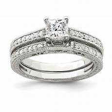 jewelrypot sterling silver 2 piece cz wedding ring