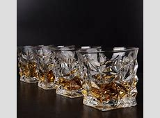 Set of 4 Crystal Clear Whiskey Glasses Scotch Bourbon