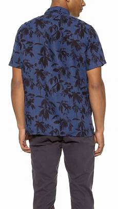 lyst paul smith palm print shirt in blue for men
