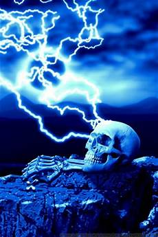 lightning skull ipod wallpaper by kargroth