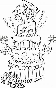 coloring page happy birthday cake get coloring pages
