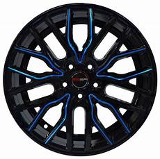 4 Wheels 18 Inch Black Blue Flare Rims Fits Ford Shelby Gt