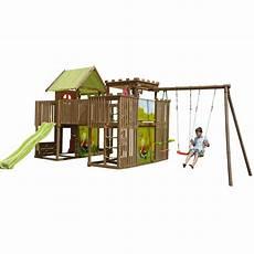 aire de jeux en pin pour enfants 2 tours 1 passerelle