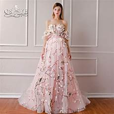 qsyye 2018 new arrival 3d floral flower formal evening dresses sweetheart lace sweep train