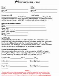 free printable motorcycle bill of sale form generic