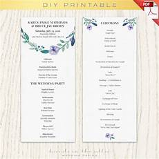 wedding program template printable printable program ceremony program floral program