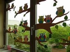Basteln Im Herbst Fensterbild Quot Eulen Gro 223 Familie Quot Aus