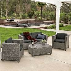 outdoor patio furniture grey pe wicker 4pcs luxury sofa seating ebay