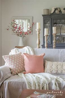 blush and bashful spring accents in the living room